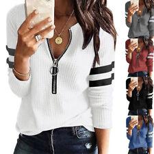 Damen Langarm V-Neck T-Shirt Bluse Herbst Freizeit Shirt Oberteile Tunika Tops