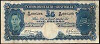 1941 Australia £5 Pounds Banknote * R/40 885208 * VG * P-27b *