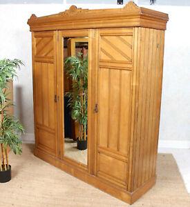 Antique Wardrobe Blond Oak Triple Compactum Victorian 19th Century Mirrored