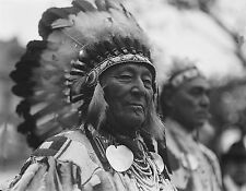 "1921 Photo, Native American Indian, Headdress, Bone Necklace, 24""x18"""