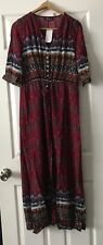 Azbro Bohemian V Neck Maxi Dress With High Slit Size Medium New With Tags