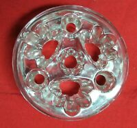 Vintage Unusual Clear Glass Gold Rim 7 Holes Floral Frog