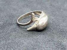 7.75 x4368 925 Estate Sterling Sterling Silver Vintage Dolphin Ring Size