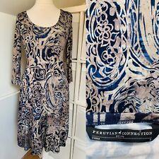 Peruvian Connection Blue & Cream Jersey Dress Size S Circle Pattern Pockets