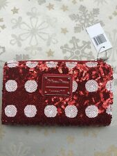Disney Parks Loungefly Minnie Mouse Bow Red Sequin Wallet Clutch Zip - New Nwt