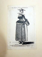 Wenzel HOLLAR old print engraving Dutch Navigator Wife