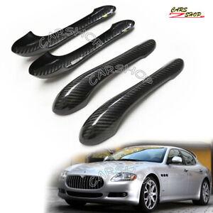 For Maserati Quattroporte 08-12 Dry Real Carbon Fiber Door Handle Cover Cap Trim