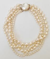 """MIRIAM HASKELL Signed 4-Strand Baroque Pearl Necklace Gold-Tone 16"""" L"""