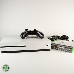 Microsoft Xbox One S White 500GB Gaming Console Bundle w Controller & 3 Games