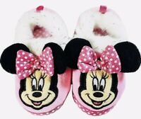 NEW Toddler Girls Disney Minnie Mouse Slippers House Shoes Pink SZ L 9-10