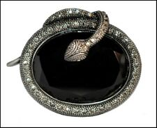 Rhinestone Snake Brooch Black Glass Art Deco Inspired Antique Silver