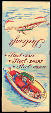 Giant Feature STEELCRAFT STEEL BOATS Churchward West Haven CT VINTAGE MATCHBOOK