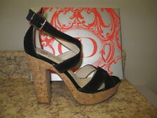 "Kelsi Dagger ""Malyssa"" Ankle Strap Sandals 10 M Black Suede Upper New with Box"