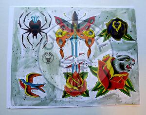 Tattoo Flash Set of 4 Sheets with Line Art Daggers Spider Rose Cuz'n Bill Lorenz