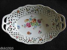 LOVELY PIERCED PORCELAIN OVAL FRUIT BASKET CARL SCHUMANN DRESDEN c.60's EX