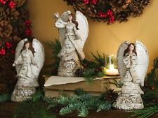 3 Pc Carved Birch Look Woodland Angel Figurine With Peace Hope & Joy Words