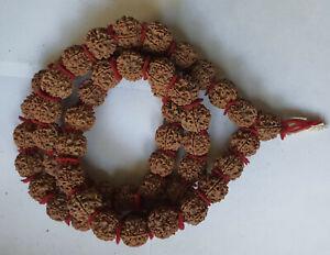 Big 21mm Nepali Nepal Pashupati Rudraksha Prayer Mala Beads Five 5 Face Mukhi