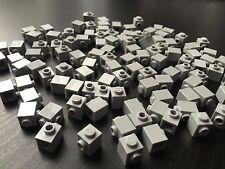 LOT OF - 100 BRAND NEW LEGO LIGHT GRAY BRICKS Modified 1 x 1 w/ Stud on 1 Side