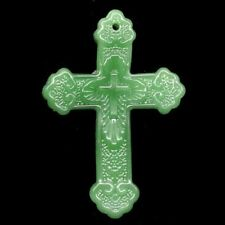 Carved Green Jade Cross Pendant Bead 60x42x10mm L48