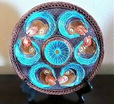 Rare 19th Century French Majolica Onnaing Fish Heads Oyster Plate Handpainted