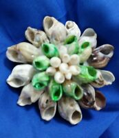 """2 1/2"""" multi dyed shell hand-wrought flower estate silver tone brooch pin broach"""