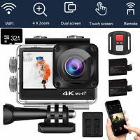 WIFI 4K Dual Screen 1080P Action Camera Sports Camcorder Helmet Bike Remote +32G