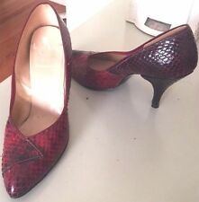 Vintage Size 6.5 Cobra Snakeskin LeatherMaroon Red Heeled Pumps-Shoes-comfrtble
