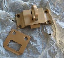 """Solid Brushed Brass Transom Window Latch 2-14"""" x 1-1/8"""" w/Strike Plate"""