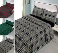 100% Brushed Cotton CHECK Flannel Sheet Set (Fitted Flat+PillowCase) All Size NZ