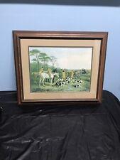 "J.F. Herring Signed Art Print 1858 Hunting Dogs Horses Men Hunt Fox 23.5""x 17.5"""