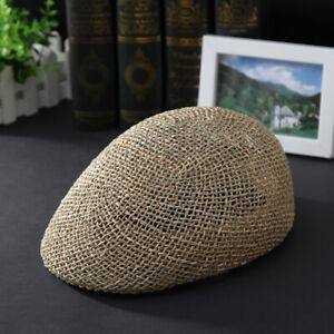 Men Breathable Summer Straw Sun Hat Newsboy Beret Ivy Cap Cabbie Flat Cap