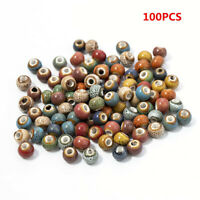 100Pcs 6mm Beads Ceramic Porcelain For DIY Jewelry Making Colorful Vintage Charm