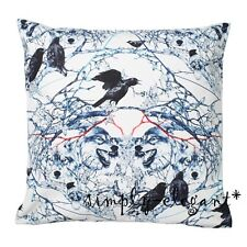 """New IKEA Cushion cover Pillow Cover Stunsig Wolf Birds 20 x 20"""" White Blue"""