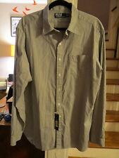 NWT $125 RALPH LAUREN XL Dress Shirt Navy White Stripe Mens NEW