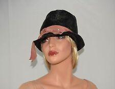 Vintage 20's 60's Black Cellophane Flapper Cloche Hat by Sanje Paris New York