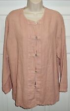 Gerties USA Linen Abalone Shell Button Front Long Slv Tunic Top Blouse Jacket S