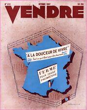 ▬►MARKETING PUBLICITÉ  -- VENDRE N° 212 (OCTOBRE 1947) --  COVER A.STEENHOUTE