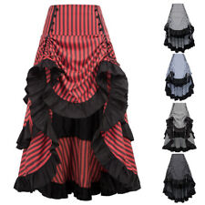 Belle Poque Vintage Gathered Victorian Steampunk Gothic Striped Bustle Skirts