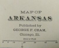 "1903 ARKANSAS Vintage Map 22""x14"" ~ Old Antique Original HOT SPRINGS BENTON"