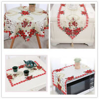 Christmas Embroidered Lace Tablecloth Dining Table Runner Cover Mats Doilies