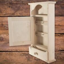 Hanging Wooden Key Cabinet with  6 Hooks & Drawer / Plain Unpainted Rack Box