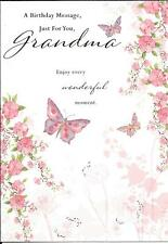 BIRTHDAY CARD - A BIRTHDAY MESSAGE JUST FOR YOU GRANDMA - FLOWERS, BUTTERFLIES