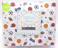 Boys Twin Sheet Set Sports Fan 3pc Football Basketball Soccer Varsity New