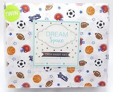 Boys Sports Fan Twin Sheet Set 3pc Football Basketball Soccer Varsity New