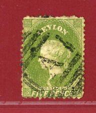 Ceylon 1863 #52e, 5p Deep Sage Green, QV, Used, SCV $425.00