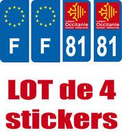 4-STICKERS-AUTOCOLLANT-PLAQUE-IMMATRICULATION-DEPARTEMENT F 81 BLEU OCCITANIE