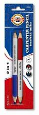 KOH-I-NOOR TWIN PACK DOUBLE ENDED CARPENTERS PENCILS RED BLUE & LEAD PENCIL