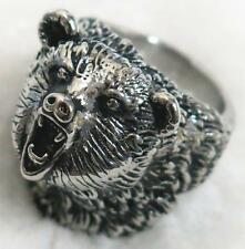 WILD BEAR STAINLESS STEEL RING size 12 silver metal S-506 bears head w teeth new