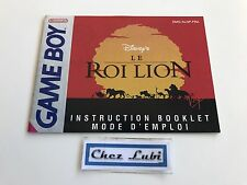 Notice - Le Roi Lion - Nintendo Game Boy - PAL FRA