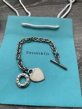 """Bracelet 7 1/2"""" - Pouch Box Bag Tiffany & Co. Sterling Silver Heart Tag Toggle"""